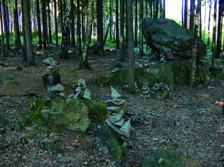 """Kamenní """"mužici"""" ve svahu Plešivce, foto sp"""