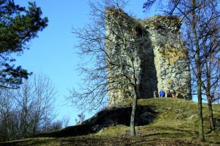 Ačkoli z ostatních částí otaslavického hradu zůstaly pouze terénní nerovnosti, hrdá věž přečkala až do dnešní doby.