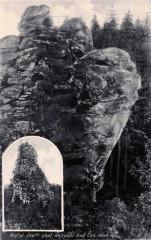 Vrchol Devíti skal, pohlednice z roku 1937 s informací o nejvyšším vrcholu Českomoravské vrchoviny (soukromý archiv Jana Kukačky)