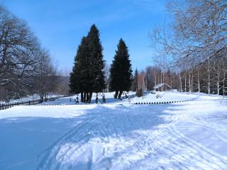 Zimní nálada na obnoveném hřbitůvku v Knížecích Pláních
